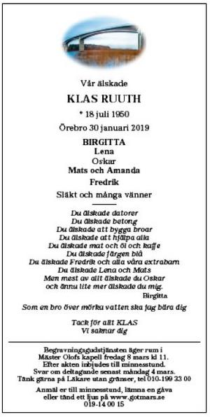 Klas Ruuths dödsannons i NA lördag 9 februari 2019.