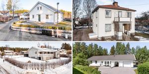 Ett montage med några av de hus som finns med på Klicktoppen för vecka 10, sett till de hus i Dalarna som fått flest klick på bostadssajten Hemnet under förra veckan. Fler bilder finns här nedanför.