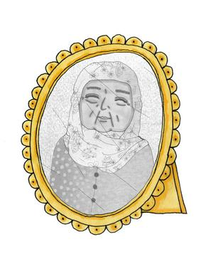 Khalil längtar efter sin mormor som han hoppas ska få komma och bo med honom och familjen i Sverige. Illustration av Hedvig Wallin.