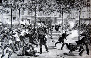 Polis slår ner en första maj-demonstration i Paris 1891. Okänd illustratör.