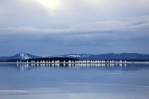 Isjakter på Orsasjön.
