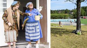 Karaktärerna Thyra och Hjördis packar ihop allsångshäftena och beger sig på turné. till Fellingsbrobadet. Foto badet: Arkiv.
