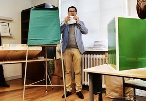 Sverigedemokraternas partiledare Jimme Åkesson hade höga förhoppningar på valresultatet. Foto: Stina Stjernkvist / TT