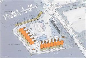 Ett annat förslag är att bygga tretton tvåvånings radhus med egen carport, och fyra lägenheter i den gamla kontorsbyggnaden.