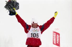 Vegard Ulvang efter ett av de två OS-gulden.