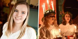 Hanna Graw fick i år det ärofyllda uppdraget att agera lucia. Till höger om henne ser man en som tidigare axlat manteln, tillika kronan.