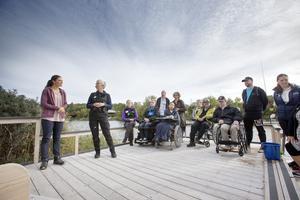 Deltagare från projektet Folkhälsa i naturen för alla fick Victoria som fiskesällskap vid ett nybyggt trädäck nära Billhamn.