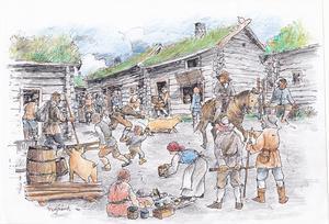 Vardagsliv i Nyby by, det medeltida samhälle som fanns strax norr om Biskopsgruvan. Många gamla husgrunder i terrängen vittnar om livet i stora och mindre hus för gruvarbetare och gruvfogdar. Teckning av Bo Svärd