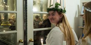 Märta Vesterström från Herrö var lucia på fredagskvällen i Svegs kyrka.