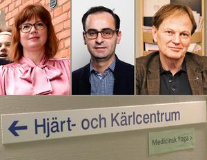 Skribenten är kritisk till hur Anna Starbrink (L), hälso- och sjukvårdslandstingsråd, Ninos Maraha (L), vice ordförande landstingsstyrelsen samt Mats Siljebrand (L), gruppledare i Södertälje ser på den kardiologiska vården. Foto: TT och LT-arkivbild