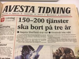 En för tiden talande förstasida till Avesta Tidning, här från augusti 1997.