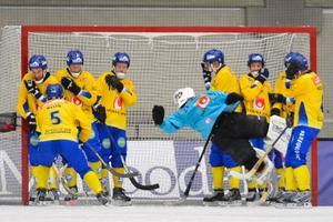 Anders Svensson i samband med en hörna under VM i Vänersborg 2013. Foto:  Anders Wiklund/SCANPIX