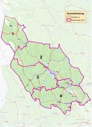 Jaktkartan visar områdena för licensjakt på björn 2018. För samebyn är det område 1 som gäller, varav det markerade området 1a är just renskötselområdet. Karta: Länsstyrelsen Dalarna.
