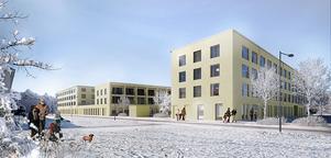 Ny förskola, äldreboende, trygghetsboende och lokaler för hemtjänst och daglig verksamhet ska byggas i Borlänge. Bilden är en vision på hur byggnaden kan komma att se ut. Bild: Magnolia Bostad