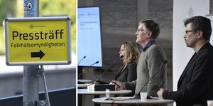 Folkhälsomyndigheten håller pressträff tisdag klockan 14. Foto Fredrik Sandberg / TT  och Janerik Henriksson / TT.