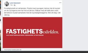 Kommunalrådet Lars Isacssons inlägg på Facebook efter beskedet om ägarbytet i Krylbo. Han läste nyheten i tidningen Fastighetsvärlden.