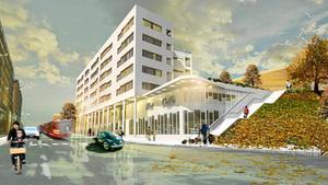 Så här ska det nya flerbostadshuset med bottenyta för affärer se ut vid Orionkullen enligt planen.Skiss: Södertälje kommun/Vesta bygg