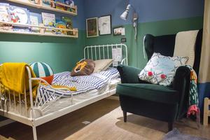 Barnsortimentets textil Käpphäst är nytt för våren. Sängen heter Minnen.