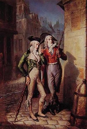 Horace Engdahl slår Rétif de la Bretonne följe på dennes nattliga vandringar genom Paris gator. Målning av Eugène Lampsonius från 1795.