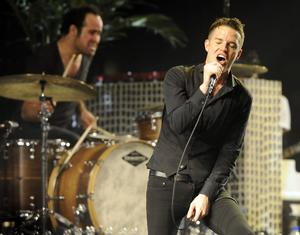 The Killerssångaren Brandon Flowers under ett framträdande vid Coachellafestivalen i Kalifornien i april.