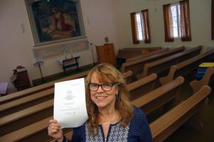 Christina Påhls West inne i kapellet i Ryssa. Arkivbild: Hans Olander