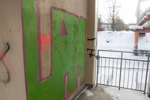 Det har klottrats på flera ställen i trappan. Nu vill Ingmarie Schef att man tar dit en eller flera duktiga graffitimålare som får göra snygga målningar.