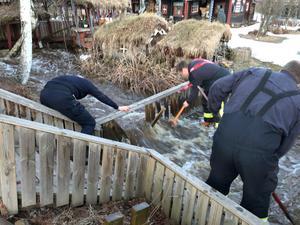 Vid 20-tiden fick brandkåren i Mora larm om översvämning vid Färnäs stugby. Foto: Mora Brandkår