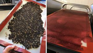 En klassiker är knäckebröd på kaffesump tillsammans med frön och gammalt bröd. Till höger hallonläder – det som blir över när man silar hallonpuré blandas med lite äggvita och torkas i ugnen. Foto: Annika Ingelson Cales