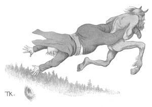 Djävulen tar en man med sig till helvetet. Illustration av Theodor Kittelsen från 1907.