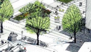 Skiss på hur Stora torget kan komma att se ut i framtiden Illustration: Sweco