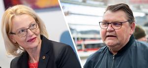 Heléne Fritzon (S) och Peter Lundgren (SD) debatterade flyktingar under Europaparlemntsvalrörelsen. Foto: TT