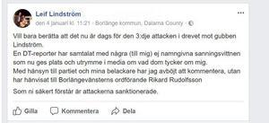 Leif Lindströms inlägg på Facebook efter samtalet med DT.