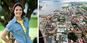 Malin Olsson är programledare för programmet. I nästa säsong hoppas de besöka Sundsvall. Foto: Pontus Lundahl/TT och Jan Olby.