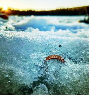 Det första Maria gjorde när hon upptäckte sin ring i snön var att ta en bild på den så att alla skulle kunna se vilken liten del av ringen som syntes. Foto: Maria Stenbäck-Edström.