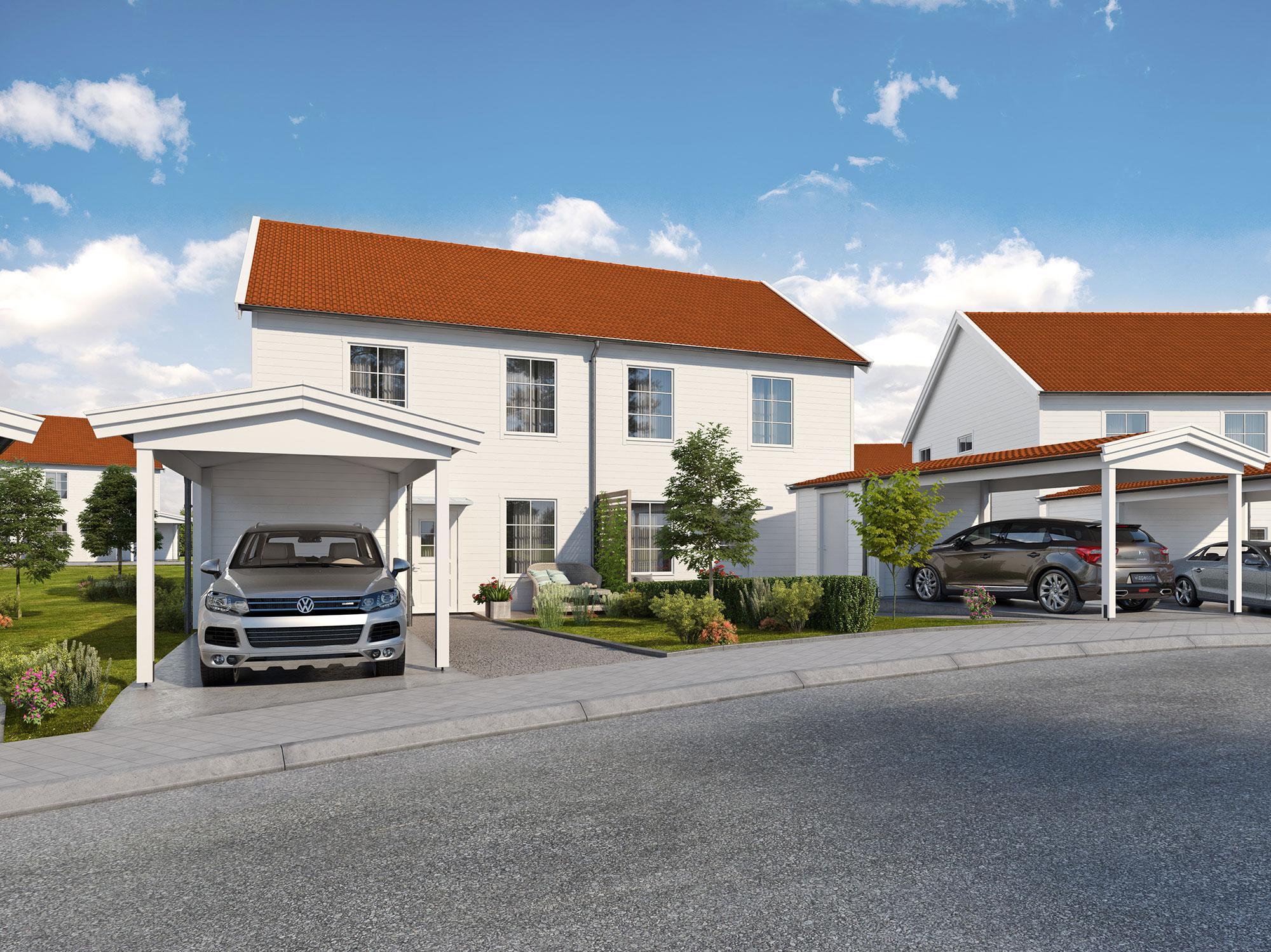 Parhus liknande dem i Uvbergsviken i Borlänge vill Framfast nu också bygga i Gustafs. Illustration: Framfast