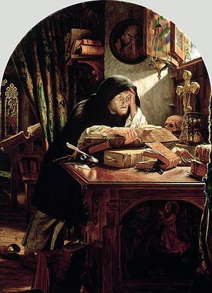 Martin Luther närläser Bibeln. Målning av Joseph Noel Paton från 1861.