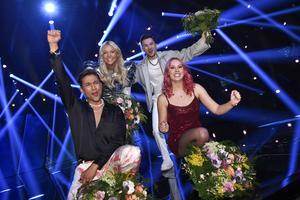 Klara Hammarström, Paul Rey Alvaro Estrella och Clara Klingenström gick till final under Melodifestivalens deltävling Andra Chansen.Foto: Claudio Bresciani/TT
