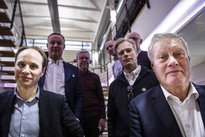 Samling Näringsliv på möte om snabbtåg mellan Östersund och Stockholm. Björn Rentzhog till vänster och Sören Westin th.
