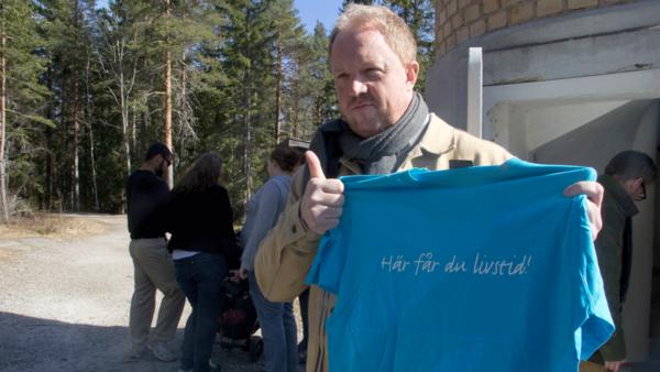 Anders Jansson fick en tröja med Fagerstas kända, och omtvistade, slogan