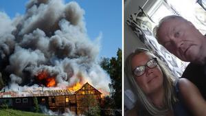 Foto: Göran Domeji och privat. Carina och Kimmo Ulander hade just lämnat av barnbarnen när de såg att det brann i ladugården mittemot Tommy Janssons hus.