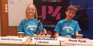 Astrid Tosteby och Noah Tysk gick vidare till semifinal i Vi i femman. Foto: privat.