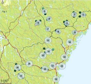 Här konstaterades föryngringar av lodjur under förra vintersäsongen. Illustration: Länsstyrelsen
