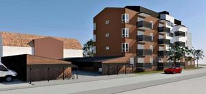 Exempel på utformning kan se ut sett mot sydväst från Tunagatan. Arkitekt: Comarc Arkitekter.
