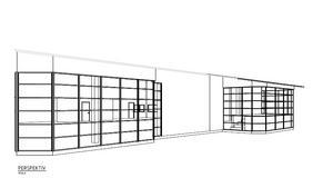 Så här kommer utbyggnaden (längst till höger) för bubbelpoolen att se ut. Fasaden tillhör Fagerstahallen och återfinns mellan inomhusbassängen och hopptornet. Illustration: NVK