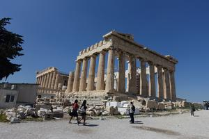 Parthenontemplet på Akropolisklippan i Aten.