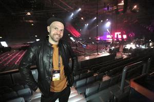 Stiko Per Larsson på plats i Scandinavium på Melodifestivalen 2018.