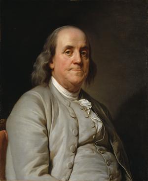 Benjamin Franklin  1785. Målning av Joseph Duplessis .