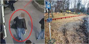 Här lämnar 18-åringen skolan varefter han får den 19-årige Rönningebon att följa med på mötet med utpressaren vid Eklundsnäsbadet. 18-åringen säger att han handlade i nödvärn, men det anser inte hovrätten. Foto: Skolans övervakningskamera/Arkivbild