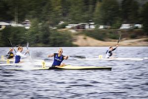 Nummer 7, Evelina Höglund under 200-metersloppet under lördagens tävling.