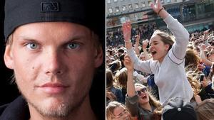 Tim Bergling, Avicii, hyllades på Sergels torg i Stockholm 21 april. Bild: Fredrik Persson/TT